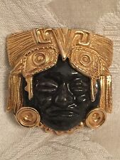 Vintage Salvador Teran For Marbel Aztec Design Gold And Black Mexico Brooch Pin