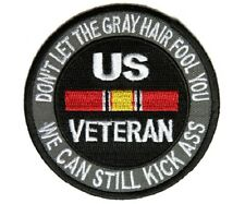 "(F20) DONT LET THE GRAY HAIR FOOL YOU US VETERAN 3"" iron on patch (4817) White"