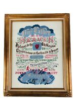 "The Lords Prayer Cross Stitch Picture Completed Framed Finished 17.5"" x 21.5"""