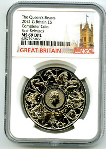 2021 GREAT BRITAIN 5PD QUEEN'S BEASTS COMPLETER COIN NGC MS69 DPL FIRST RELEASES