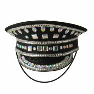 Women's Cosplay Military Hat With Rhinestone German Officer Army Costume Hat