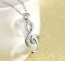 Beautiful Sterling Silver Musical Note Pendant .925 Treble Clef Womens Necklace