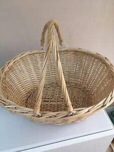Large Wicker Basket with Folding Handles