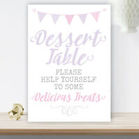 Lilac & Pink Bunting Dessert Table Sign For Pretty Wedding Party 3 FOR 2 (LIB16)