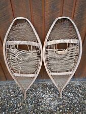 "RARE OLD Snowshoes 38"" Long with VERY INTERESTING Webbing Design"