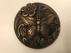 Rare solid,vintage,distressed women's Butterfly belt buckle.2 Tone Brass plaited