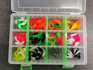 55 Forellengummis im Set mit 6 Jigköpfen 11verschiedene Farben je 5St inkl  Box