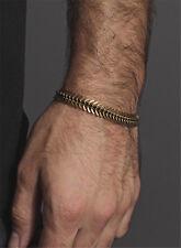 Antique Bronze Fish-bone Curb Men Boys Metal Spine Bracelet Handmade Jewellery
