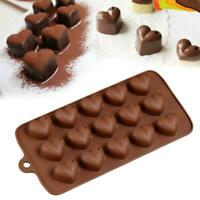Love Heart Shaped Silicone Chocolate Molds Jelly Ice Mould Bak Molds s Cake O2Y6