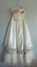 Girls Pageant Dress Antique White Formal Long Bead Sequin Jewel Fits Size 12