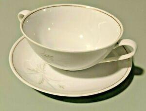 NORITAKE CHINA #6117 WINDRIFT TWIN HANDLE SOUP/DESSERT BOWLS & SAUCERS