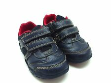 Clarks boys blue leather First Shoes shoes with red lights 5G