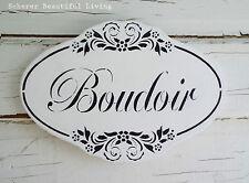 Boudoir Sitting Room French Plaque Sign Rococo Black & White Cottage Chic Paris