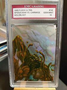 SPIDER-MAN VS. CARNAGE  HOLOBLAST 1995 FLEER ULTRA EMC GRADED 10 GREAT CARD !