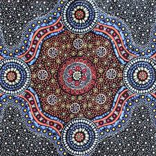 AUSTRALIAN ABORIGINAL QUILTING FABRIC - WILD BUSH FLOWERS BLACK by FQ and METRE