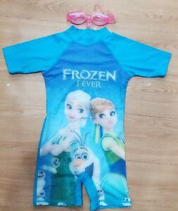 Kids Girl Frozen Fever Blue Swimming Suit (FREE GOOGLES)