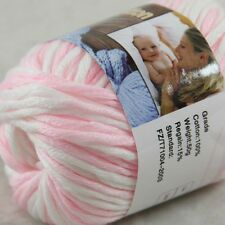 1BallX50g Special Thick Worsted 100% Cotton HAND Knitting Yarn 45 Pink White