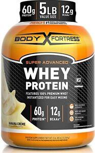 Body Fortress Whey Protein Powder 5 lb Banana Creme exp 7/22