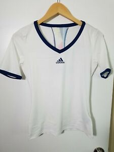 1 NWT ADIDAS WOMEN'S T-SHIRT, SIZE: X-SMALL, COLOR: WHITE/NAVY (J91)