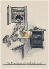REPRINT PICTURE of old KITCHEN COOKING ad WOMAN USING MIXING BOWL 5x7