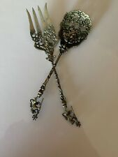 ANTIQUE ORNATE Brass SERVING SPOON AND FORK set  By MONTAGNANI  MADE IN ITALY