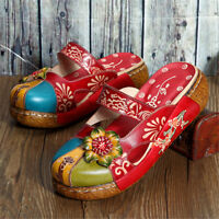 SOCOFY 2018 Women Leather Flats Hollow Colorful Slippers Floral Slip On Sandals