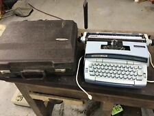 Vintage 1970s Smith Corona Coronet Super 12 Blue Electric Typewriter with Case