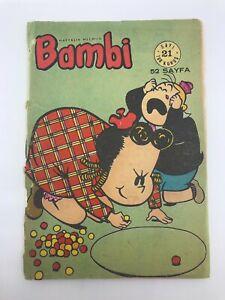 BAMBI #21 Turkish Comic Book 1960s Mega Rare TINTIN BACK COVER Dennis the Menace