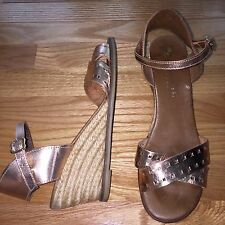 ERIC MICHAEL US 10 11 Metallic Pink Leather AnkleStrap Wedge Sandals Heels EU 41
