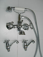 VICTORIAN TRADITIONAL WALL MOUNTED BATH SHOWER MIXER & PAIR OF BASIN TAPS, 044N2