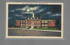 HIGH SCHOOL BY NIGHT, MARTINSVILLE VIRGINIA LINEN POSTCARD UNUSED NM