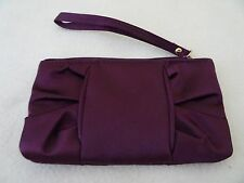 SILKY FABRIC CHANGE PURSE-ZIPPERED TOP-WINE COLOR