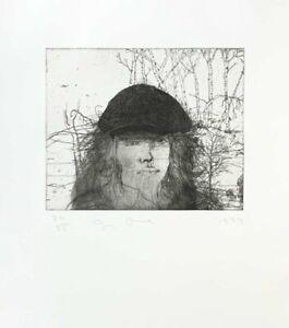 "Jim Dine ""SELF PORTRAIT IN A FLAT CAP"" Original Dry point Etching S/N"