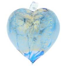 GlassOfVenice Murano Glass Spotted Heart Christmas Ornament - Aqua Gold
