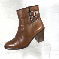 J Crew Women's High Heel Ankle Boots Brown Leather Buckles Size 7
