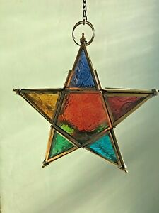 Handcrafted Stained Glass Candle Holder T-Light Gift Home Tea Light Hanging Gift