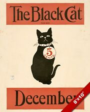 VINTAGE BLACK CAT 5 CENT ADVERT KITTEN PET ANIMAL ART PAINTING REAL CANVAS PRINT
