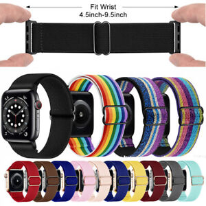 Adjustable Stretchy Solo Loop Elastic Nylon Strap For iWatch Band Series 6 5 3 2