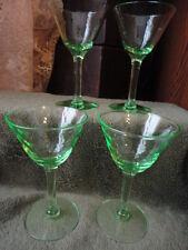 Green Depression Glass Optic Swag Pattern Stem, Wine Vaseline 4-1/2 (4) Vintage