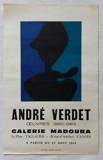 Affiche exposition artistique André VERDET - céramique MADOURA - Vallauris  1963