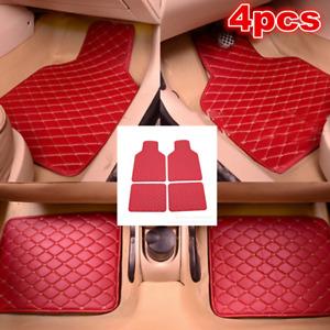 4pcs Car Accessorie Front Rear PU Leather Interior Floor Mats Non-slip Carpet