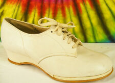 5.5-6 vintage 40s white leather lace-up wedge oxfords heels granny shoes Nos