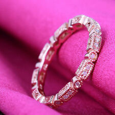 Unique Eternity Band Natural Diamond Solid 10K Rose Gold Anniversary Match Ring