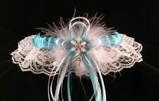 TURQUOISE Satin and White LACE GARTER PROM Wedding Bridal Marabou Feathers Charm