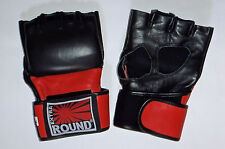 Gants MMA grappling mitaines Free Fight Combat libre Lutte Extra Round en cuir