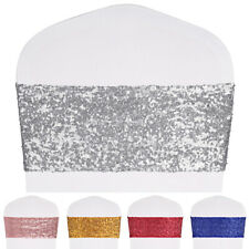 10Pcs Sparkly All Around Sequins Chair Sashes Stretch Cover Band Wedding Party