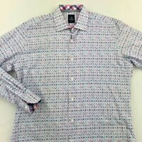 Tailorbyrd Collection Mens Button-Front Shirt White Red Blue Geometric Cotton L