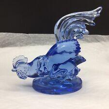 Paden City Blue Head Down Fighting Depression Rooster Chicken Figurine