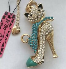 Betsey Johnson Necklace  Kitty Cat Blue High Heel Crystals GOLD LOVE Sexy