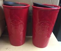 2 NEW Starbucks Red Quilted Double Wall Ceramic Travel Mug TUMBLER FREE SHIPPING